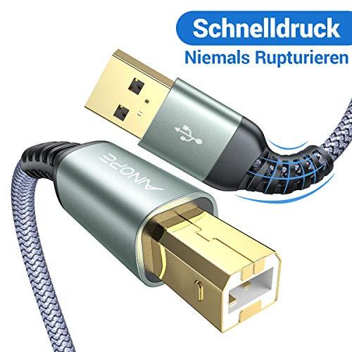 USB Druckerkabel, [Niemals reißen] Typ b USB Kabel 2M USB A auf USB B Druckerkabel mit hoher Geschwindigkeit für HP, Canon, Dell, Epson, Lexmark, Xerox, Samsung und andere