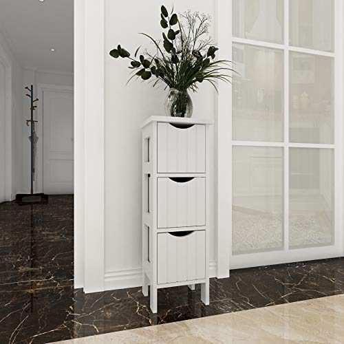 woodluv 3 Drawer Free Standing MDF Storage Cabinet For Bathroom - White