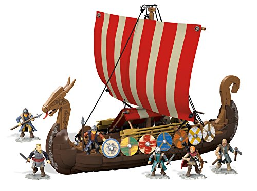 Mega Bloks Construx FPH88 Construx Probuilder Viking Longship Raid (Amazon Exclusive), Multi-Colour