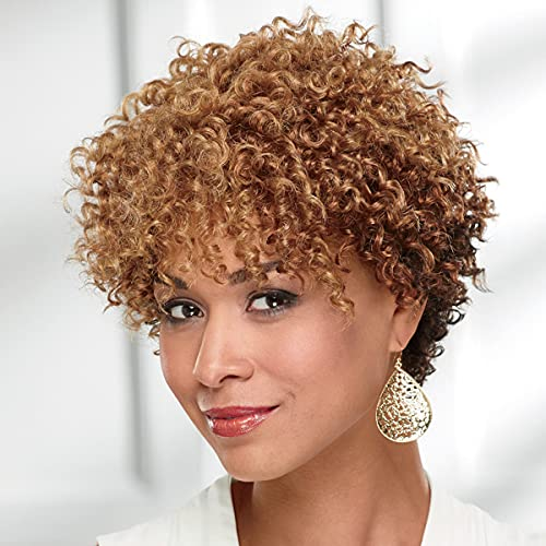 Felicity Wig by Especially Yours – Natural Short Wig with Trendy Corkscrew Curls, Bouncy Layer s/ Runway Shades of Black, Brown and Gray