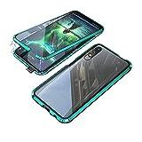 Jonwelsy Kompatibel für Huawei Honor 9X / 9X Pro (6,59 Zoll) Hülle, 360 Grad Vorne & Hinten Gehärtetes Glas Transparente Hülle Cover, Stark Magnetische Adsorption Metallrahmen Handyhülle (Grün)