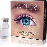 SUMITA Color Perfect (Azul), Lentes de contacto de color, lentes de contacto mensuales, suaves, vida útil de 1 mes, proteja sus ojos de los rayos UV, sin receta, hecho en Corea, diseño italiano