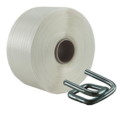16 mm Textil Umreifung Set besteht aus Umreifungsband und Metallklemmen phosphatiert