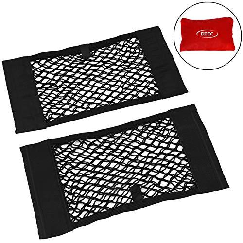DEDC 2 Pack Black Magic Adhesive Mesh Cargo Net Elastic String Net Mesh Net Pouch for Car Truck SUV Bottles Groceries