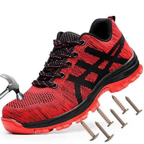 MJJ Zapatillas Deportivas de Seguridad para Hombre, con Punta de Acero, Zapatos de Trabajo Transpirables,Red,6.6.5