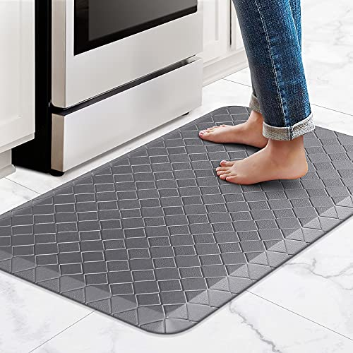 """HappyTrends Kitchen Mat Cushioned Anti-Fatigue Kitchen Rug,17.3""""x 28"""",Thick Waterproof Non-Slip Kitchen Mats and Rugs Heavy Duty Ergonomic Comfort Rug for Kitchen,Floor,Office,Sink,Laundry,Grey"""