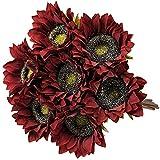 YYHMKB 8PCS Vintage Girasoles Flores Artificiales Seda Tallo Largo Girasol Arreglo Girasol Falso Centro de Mesa Girasoles Decoraciones Rojo Oscuro