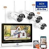 8 Canaux Extensible 1080P NVR Kit, Système de Caméra Kit Vidéo Surveillance sans Fil 4X 1080P Caméras avec 2 to...