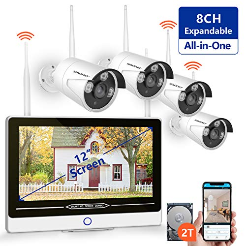 "【2TB Hard Drive Pre-installed】SMONET All in One with 12"" Monitor 1080P Security Camera System Wireless,8-Channel Outdoor Home Camera System,4pcs 2.0MP(1080P) Waterproof Wireless IP Camera,P2P,Free APP"