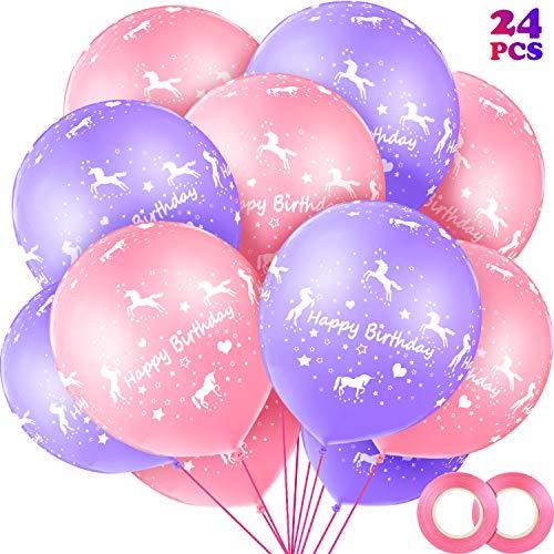 Gejoy 24 Stücke Einhorn Happy Birthday Luftballons 12 Zoll Einhorn Latex Luftballons mit 2 Stück Rosa Luftballon Band für Einhorn Geburtstag Party Hochzeit Baby Dusche Dekoration