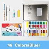 Leepesx 48 colores acuarelas sólidas pinturas conjunto pigmento dibujo pintura con pincel de agua pincel lápiz esponja papel de acuarela para artistas principiantes estudiantes adultos