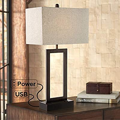 Todd Modern Table Lamp with USB and AC Power Outlet in Base Bronze Rectangular Oatmeal Fabric Shade for Living Room Bedroom Bedside Nightstand Office Family - 360 Lighting