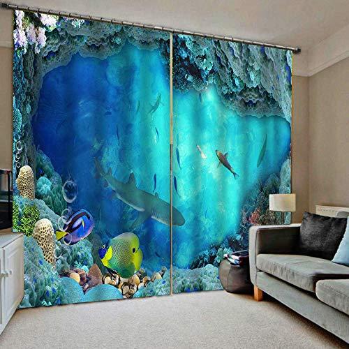 HomeAZWQ Verdunkelung Verdunkelungsvorhang Vorhänge Blickdicht Kinderzimmer Gardinen Blaue Fischschwarm H250 X W320Cm