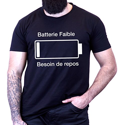 L'abricot blanc - T-Shirt Humour Geek Batterie...