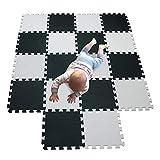 MQIAOHAM área de juego para niños colchonetas de espuma de juego de bolas rompecabezas tapete de juego tapete de bebé alfombras de juego de espuma suave para niños 18 piezas blanco negro 101104