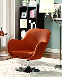 Coaster Home Furnishings 902148 Contemporary Swivel Chair with Chrome Base, Orange