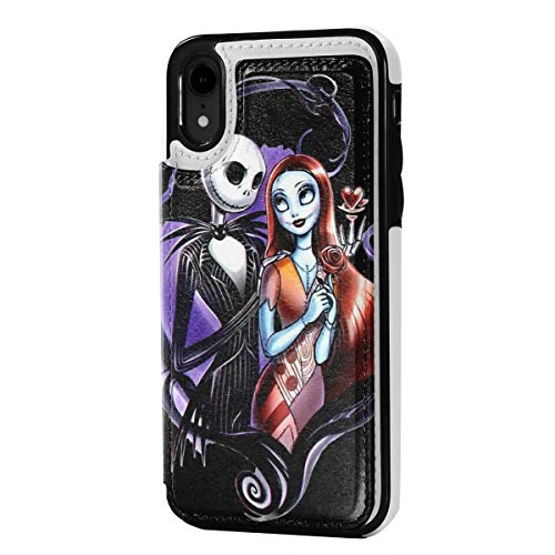Nightmare Before Christmas Wallet Case for iPhone XR PU Leather Phone Cases with Credit Card Slot Cash Holder Magnetic Closure Shockproof Protective Flip Case for iPhone XR 6.1'',Black,One Size
