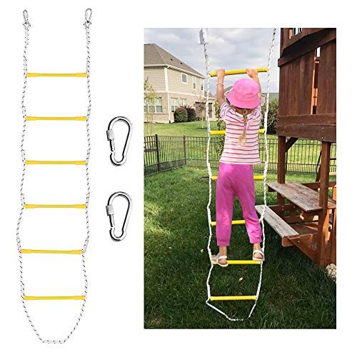X BEN 7.5' Rope Ladder with 2 Hooks for Kids & Adults, Climbing Game for Swing Accessories, Tree House, Playground, Play Set