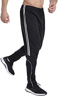 Men's Athletic Track Pants Striped Soccer Training Pants Running Jogger Pants with Zipper Pockets