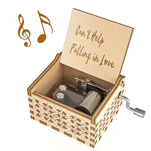 Ucuber Music Box I Love You Gift, Wood Laser Engraved Presley Gifts Cute Boxes Gift | Cant Help Falling in Love | Best Gifts for Wedding Day/Christmas Day/Birthday