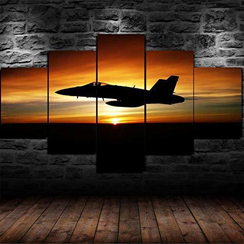 QMCVCDD 5 Piezas De Pared Fotos Cuadros En Lienzo Atardecer Cielo F-16 Fighter Airplane HD Imprimir Modern Artwork Decoración De Arte De Pared Living Room