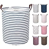 DOKEHOM 17.7-Inches Large Laundry Basket (9 Colors), Drawstring Waterproof Round Cotton Linen...