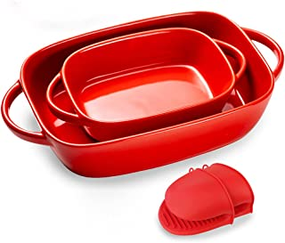 Bakeware Sets with 1 Pair of Mini Oven Mitts, Casserole Dish Includes 2 Rectangular Baking dishes, Ceramic baking dish for...