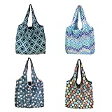Kytpyi bolsa de compra plegable grande, 4 piezas llevar bolsa de compras bolsas de compra reutilizables bolsa de compras ecológica bolsas de asas de tela para uso diario viajando