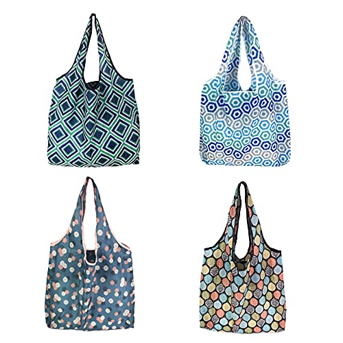 Kytpyi bolsa de compra plegable grande, 4 piezas llevar bolsa de compras...