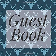 Guest Book: Navy Blue Deer Stag Antlers - Signing Guestbook Gift Log Photo Space Book for Birthday Party Celebration Anniversary Baby Bridal Shower ... Keepsake to Write Special Memories In