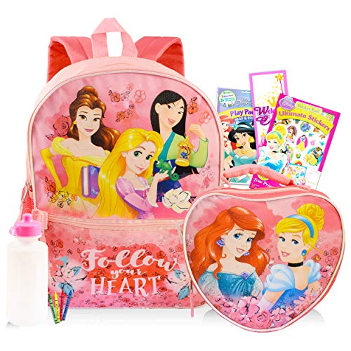 Disney Princess Backpack 6 Pc Activity Bundle with 16' Backpack, Lunch Bag, Coloring Book, and More (Disney Princess School Supplies)
