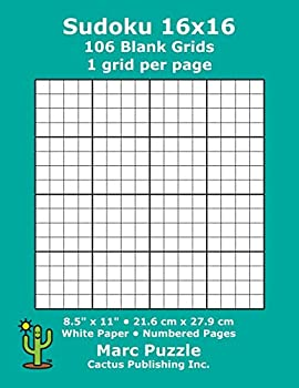 Sudoku 16x16 - 106 Blank Grids  1 grid per page  8.5  x 11   216 x 279 mm  White Paper  Page Numbers  Number Place  Su Doku  Nanpure  16 x 16 Puzzle Template Boards