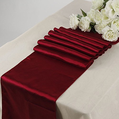 KING 1 Satin 12 x 108 inch Table Runner Banquet Wedding Party & Event -Maroon