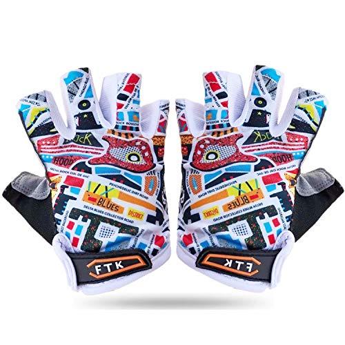 Fahrradhandschuhe Kinder MTB Jungen Mädchen 2-11 Jahre Roller Skate Sport Handschuhe Gel rutschfest (Bunt, L)