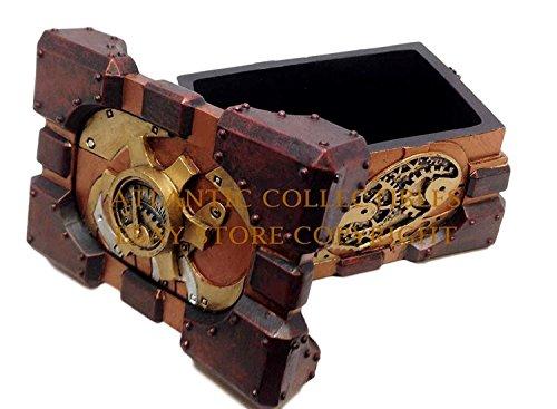 Ebros Steampunk Valentine's Heart Pressure Gauge Box Heart hand Painted Gearwork Jewelry Trinket Keepsake Figurine Home… 3