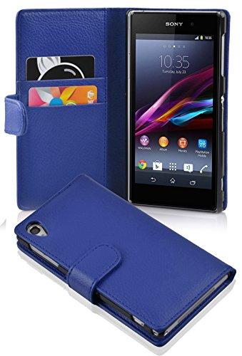 Cadorabo Hülle für Sony Xperia Z1 - Hülle in KÖNIGS BLAU – Handyhülle mit Kartenfach aus struktriertem Kunstleder - Hülle Cover Schutzhülle Etui Tasche Book Klapp Style