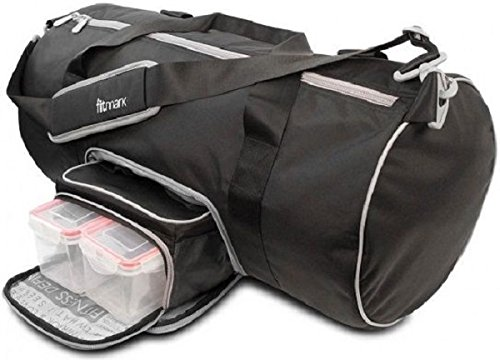 Fitmark Transporter Duffel Bag with Removable Meal Prep Insulated Bag with Portion Control Meal Containers, Reusable Ice Packs, Black