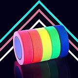 Tape Neon- 5 Colori, 15MM*5M Per Rotolo Nastro Fluorescente Neon Tape, Glow in The Dark Gaffer Tape, UV Blacklight Reactive Fluorescent, per il Partito Art Craft Black Light Decorazioni di Halloween