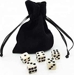 Dice Set with Dice Bag. REAL BONE. 5 - 6d Dice. Handmade. Casino Dice RPG Betting Dice Craps Board games D&D Backgammon Farkle Bunco Balut Liars Dice Crown & Anchor Golf Dice. Ages 10 and up