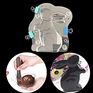 1pc 3D Easter Bunny Rabbit Silicone Mold for DIY Handmade Ice Cream Gum Paste Pudding Candy Jelly Shots Cupcake Cake Topper Decoration Chocolate Soap Mould Ice Cube Desserts Fondant Mold Crystal