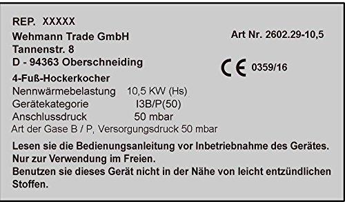 Gas-Hockerkocher 10,5 KW Profi Hockerkocher mit Zündsicherung und Piezozünder inkl. 1,5 m Schlauch u. Regler.
