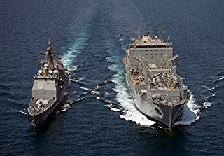 USS Cape St George pulls alongside USNS Charles Drew for a replenishment at sea Poster Print by Stocktrek Images (34 x 22)