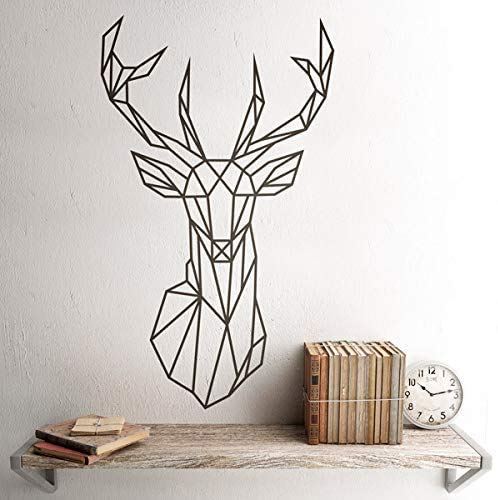 Wandaufkleber Origami Geometric Deer Head Polygonaler Hirschkopf Wandtattoo  Hirschgeweih Jagd Wandtattoo 42X71Cm