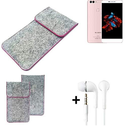 K-S-Trade Filz Schutz Hülle Für Bluboo Dual Schutzhülle Filztasche Pouch Tasche Hülle Sleeve Handyhülle Filzhülle Hellgrau Pinker Rand + Kopfhörer