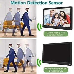 MELCAM Digitaler Bilderrahmen 10 Zoll mit 32GB Sd Karte,1080P IPS Display Elektronischer Bilderrahmen für Foto/Musik/Video Player mit Kalender/Wecker, Bewegungssensor, mit Fernbedienung