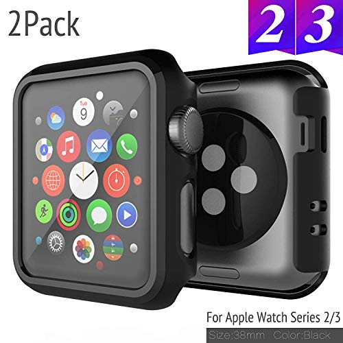 SPORTLINK Apple Watch Custodia, Rugged Armor Bumper per iWatch Apple Watch Series 3 / Series 2 38mm Cover Case (2 Pezzi - Nero)