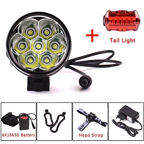 YEHOLDING - Illuminazione LED per Bicicletta, 9000 Lumen, 7 x CREE XM-L T6, 3 modalità, Luce Esterna Anteriore per Bicicletta, Potente
