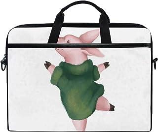 VICAFUCI Nuevo Bolso para portátil de 15-15.4 Pulgadas,Imagen Infantil de suéter cálido artístico Dibujado Bailando Lindo Cerdo