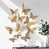 12 Pcs 3D Butterfly Wall Stickers, 3 Sizes Flowers Butterfly Wall Decals Removable DIY Floral Butterfly Art Wall Stickers Garden Bouquet Wall Stickers for Bedroom Living Room TV Wall Home Decor
