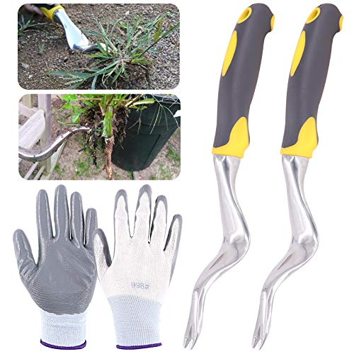 Keadic 4Pcs Manual Hand Weeder Tools Set, with Gardening Weed Puller with Ergonomic Handle & Protective Gloves, Perfect for Garden Yard Lawn Farmland Bonsai Transplant & Weed Removal